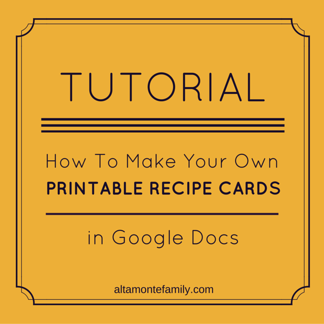 How To Make Free Printables In Google Docs Altamonte Family Recipe Book Templates Printable Recipe Cards Cookbook Template