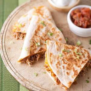 Barbecue Pulled (Crock Pot) Chicken and Cheddar Quesadillas
