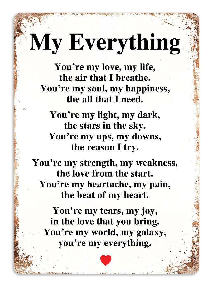 My Everything WHITE Metal Wall Sign Plaque Art Couple