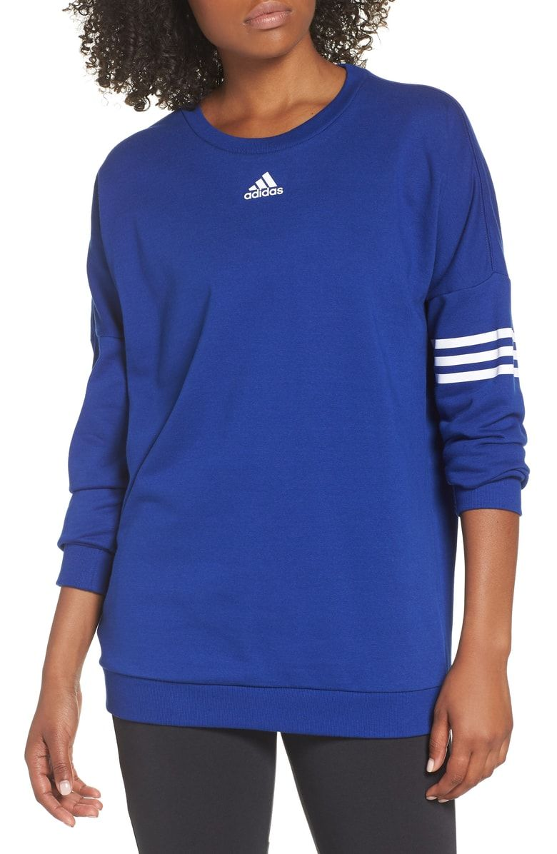 86b0b059023 Free shipping and returns on adidas Oversize Crewneck Sweatshirt at  Nordstrom.com. Drop-shoulder sleeves and iconic logo branding amplify the  sporty look of ...