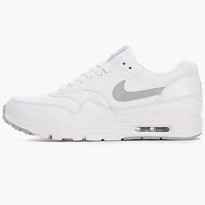 Nike Air Max 1 Ultra Essential Womens 704993-102 White Grey Running Shoes  Sz 11