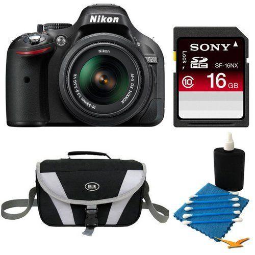 Nikon D5200 24 1 Mp Cmos Digital Slr With 18 55mm F 3 5 5 6 Af S Dx Vr Nikkor Zoom Lens Black Lens Deluxe Bundle Includes Secure Digital Nikon D5200 Camera
