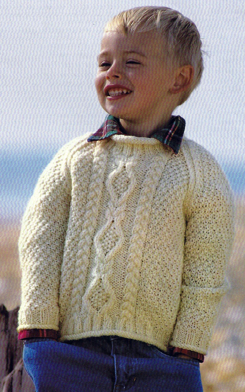 4fc792535ef PDF Instant Digital Download boys girls aran sweater knitting ...