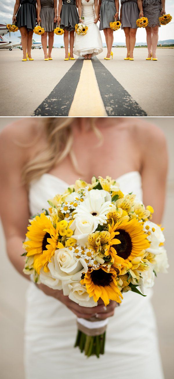 Yellow wedding bouquet by colorado florist hollie love for Sunflower dresses for wedding