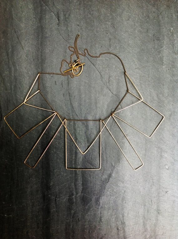 Gold Geometric Necklace Statement Necklace Loop Jewelry Hammered Goldfill, Prairie Deco Silver L.Greenwalt Jewelry Art Deco