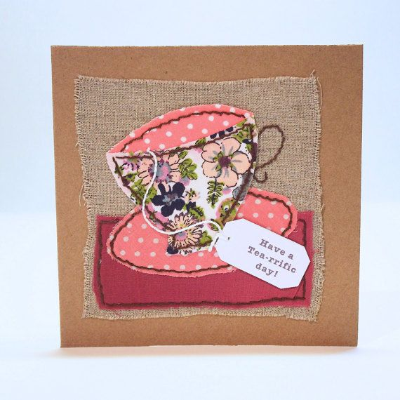 Handmade Birthday Card Fabric Collage Pink by PaperSoupCards