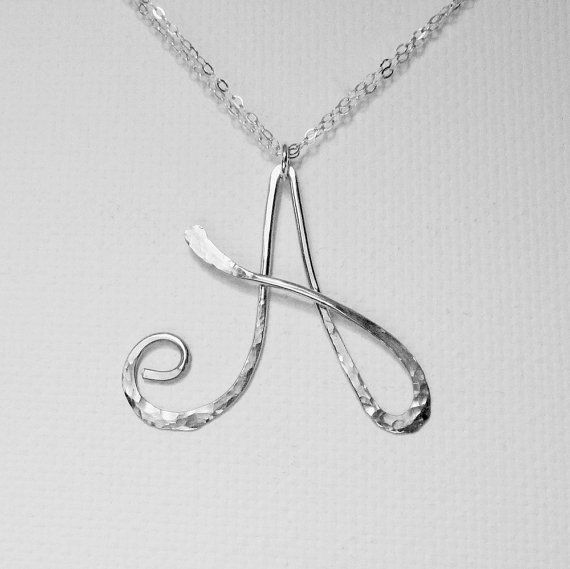 Letter Necklace Silver Letter A Necklace Personalized Necklace Silver Initial A Necklace Hammered Letter Necklace