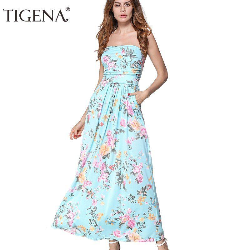 50865faf71 TIGENA Women Summer Dress 2018 Strapless Off Shoulder Long Maxi Dress  Sundress Women Summer Tunic Boho Beach Dress Robe Femme