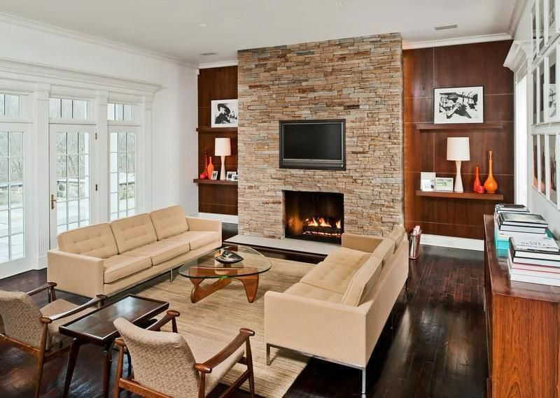 Modern Living Room With Stone Fireplace