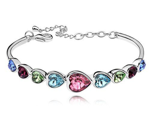Save $100.00 on Ninabox ® Rainbow Collection [RC] -- Rainbow Heart. Fashion Jewelry 18K White Gold Plated Alloy Bangle Bracelet...; only $29.99 + Free Shipping