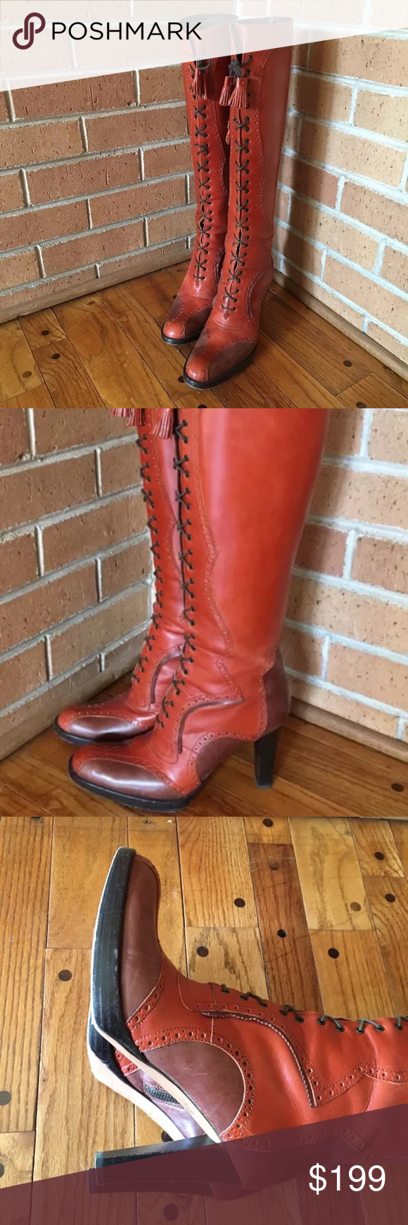 """Max Mara Leather Lace Up Riding Boots Beautiful gently worn Max Mara Riding Boots Inner zipper  Heel height 4"""" Please see all photos for condition REASONABLE OFFERS WILL BE CONSIDERED Max Mara Shoes Heeled Boots"""