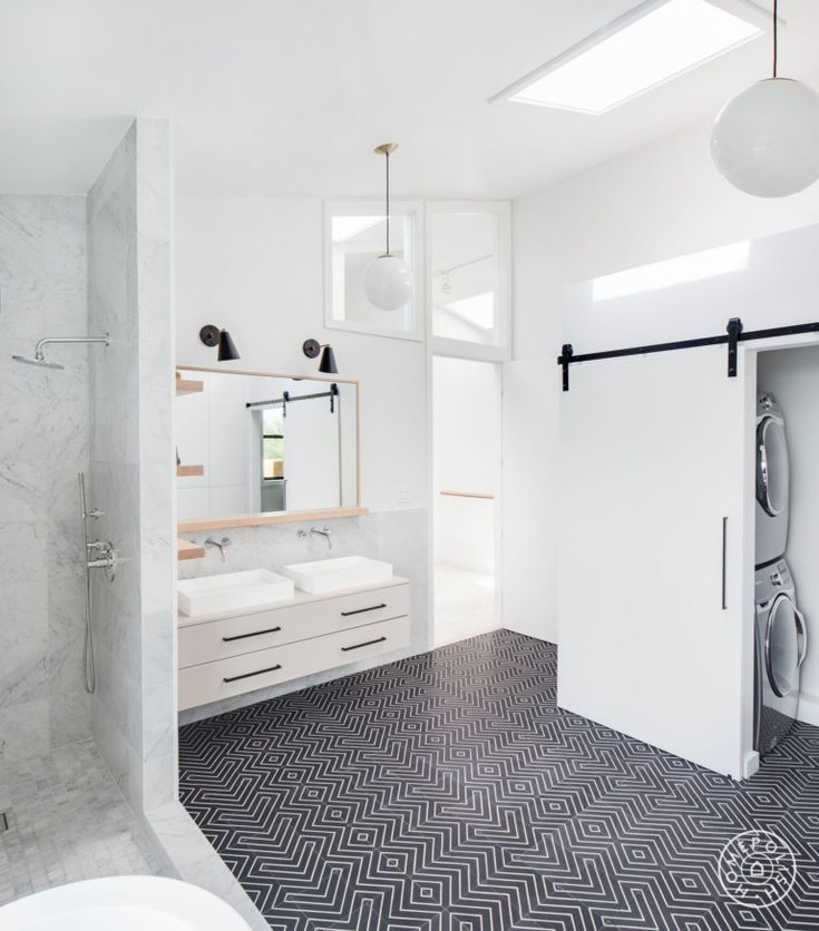Before and After: Three Bold, Black and White Bathroom Renovations images