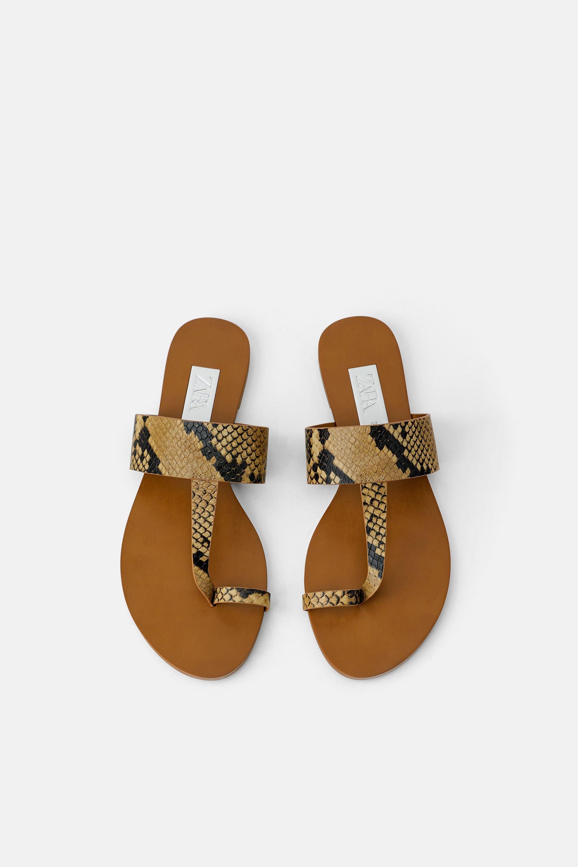 Animal Print Flat Sandals New In Shoes Woman Sale Zara United States Animal Print Flats Flat Sandals Snakeskin Print Flats