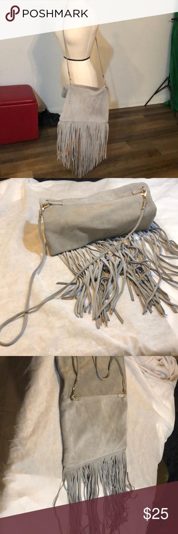Street Level Suede Grey Fringe Cross Body Bag