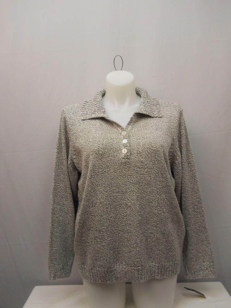 PLUS SIZE 2X Women's Henley Sweater KAREN SCOTT White Marl Long Sleeve Pullover #KarenScott #Henley