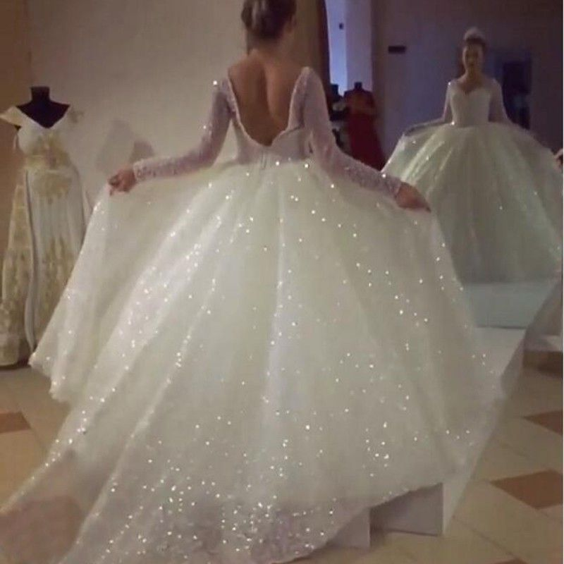 Ball Gown V Neck Long Sleeves Backless Wedding Dress With Sequins