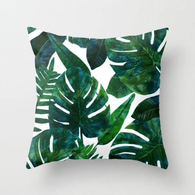 Home Green Leaves Printed Bedroom Decoration Cushion Cover Throw Pillow Case