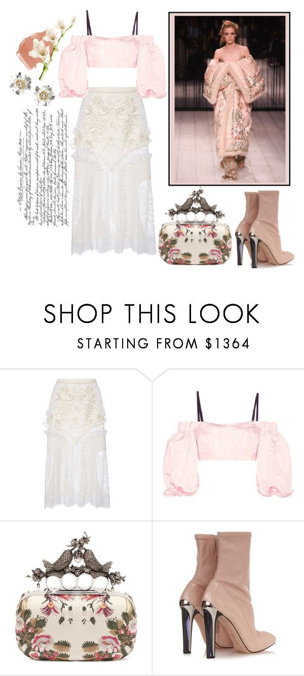 """""""Cold Shoulder"""" by harperleo ❤ liked on Polyvore featuring Alexander McQueen, Rodarte and Alessandra Rich"""