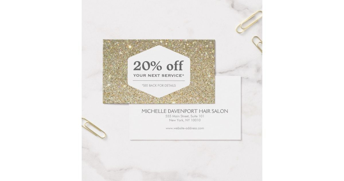 Elegant White Emblem On Gold Discount Coupon Card #goldglitterbackground Coordinates with the ELEGANT WHITE EMBLEM ON GOLD GLITTER BACKGROUND Business Card Template by 1201AM. Great for holiday promotions or any time of year. Customize the fields with your own discount and text. © 1201AM CREATIVE #goldglitterbackground