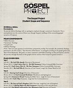 The Gospel Project Scope And Sequence Hs Bible Youth
