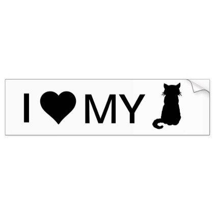 I love my cat bumper sticker craft supplies diy custom design supply special