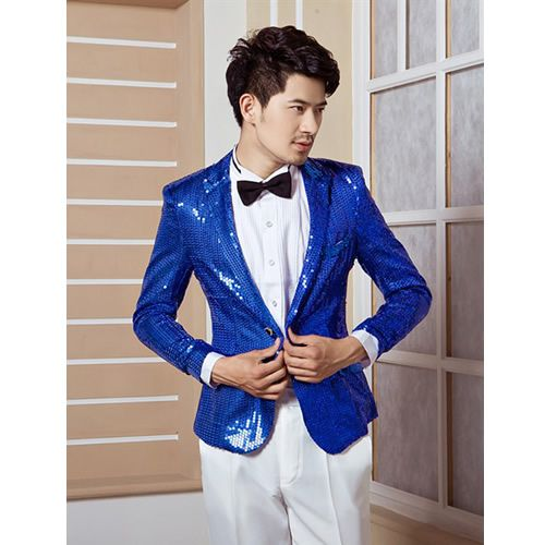 Royal Blue Sequin Slim Fit Fashion Wedding Prom Dress Suits ...