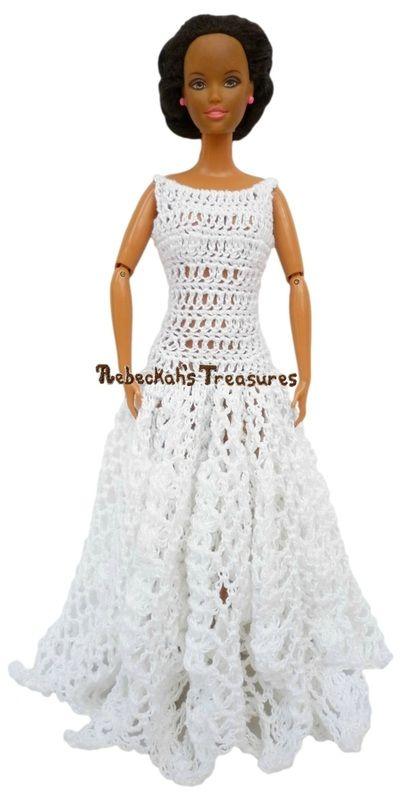Bateau Ball Gown Barbie Wedding Dress | Ropa de Muñecas | Pinterest