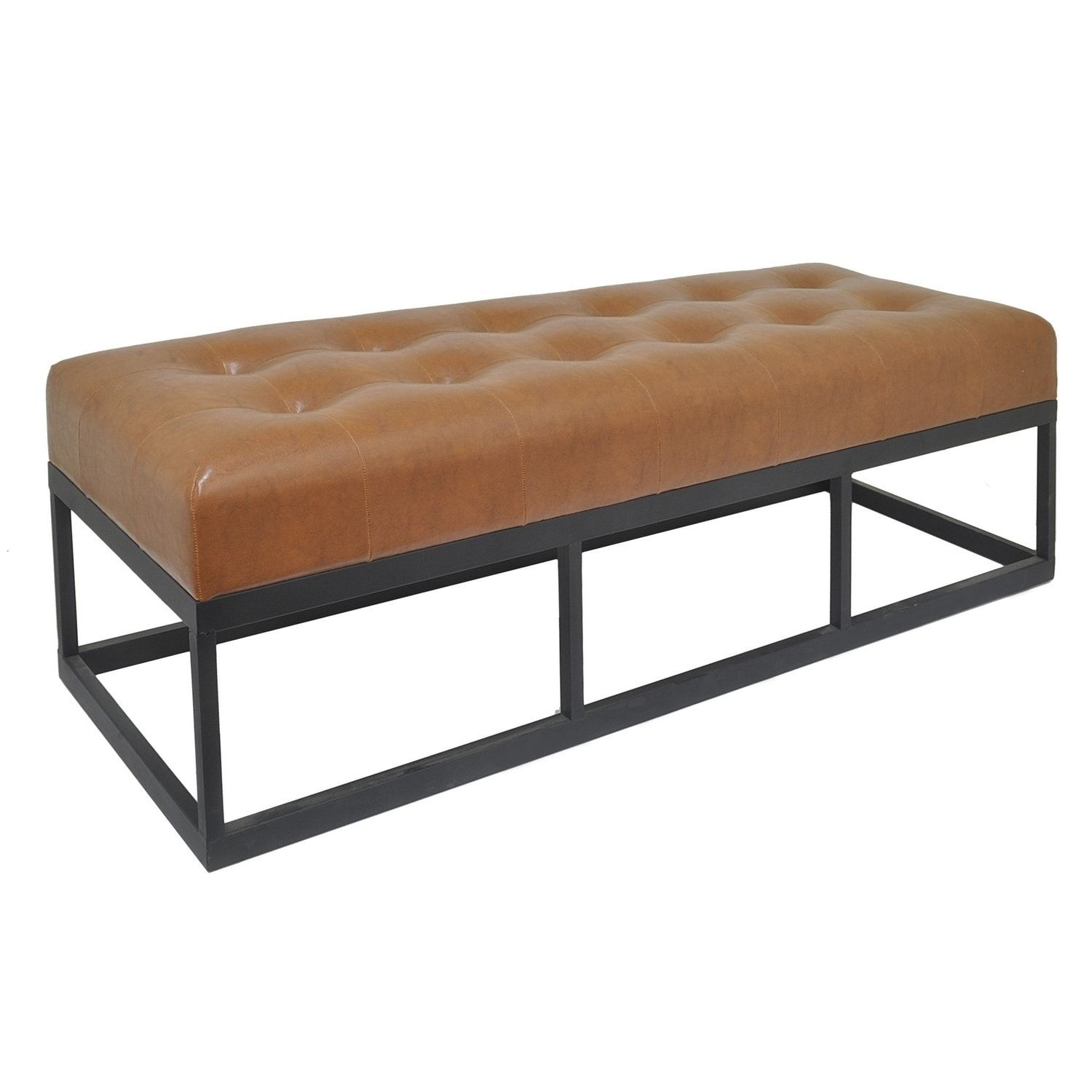 Three hands bench with metal frame brown bench linens and third
