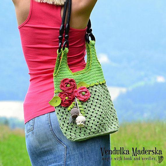 Crochet el bolso con amapolas rojas patrón DIY por VendulkaM, $6.50 ...