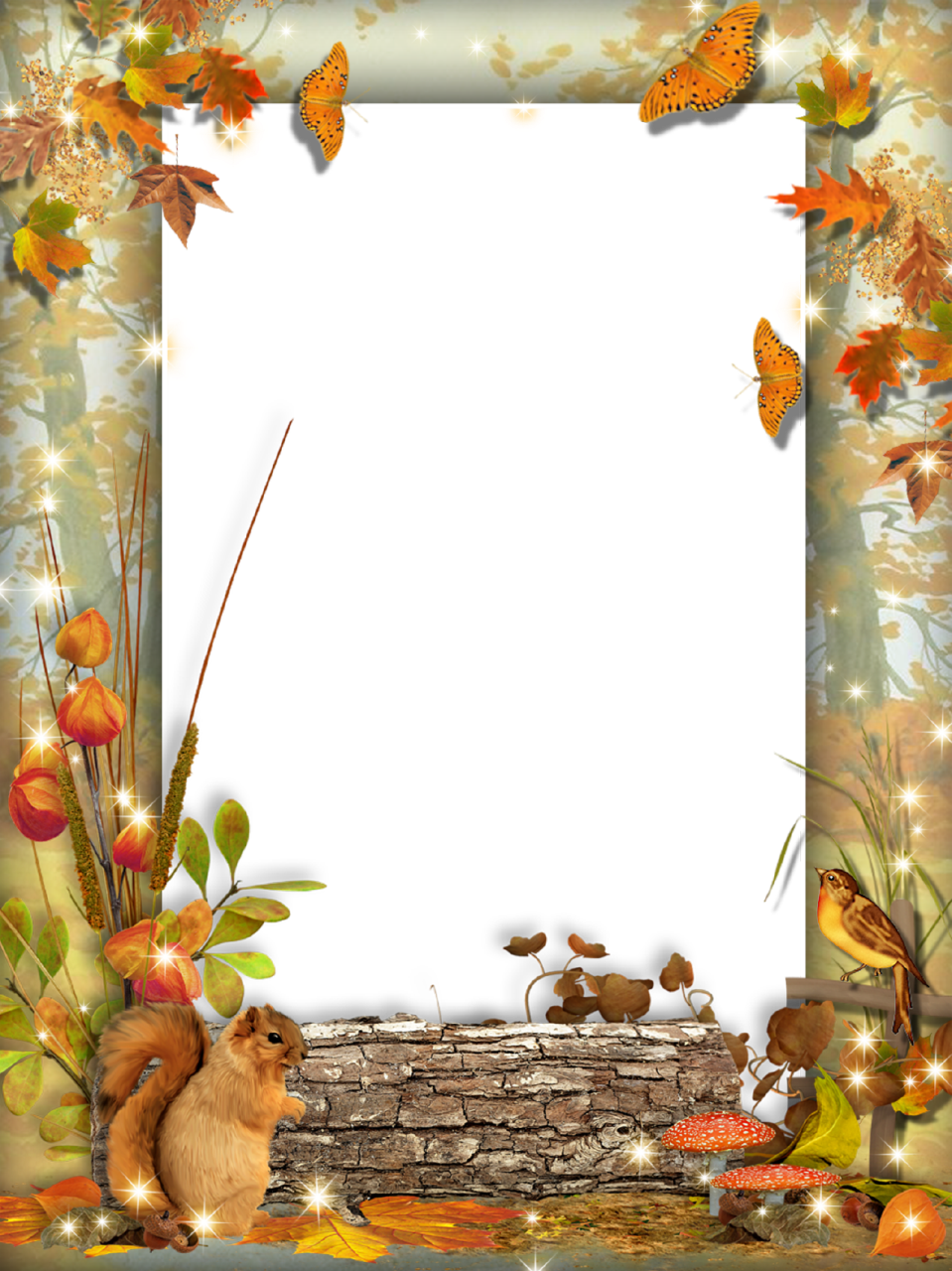 Autumn-Photo-Frame-Squirrel-in-the-Forest.png (959×1280 ...