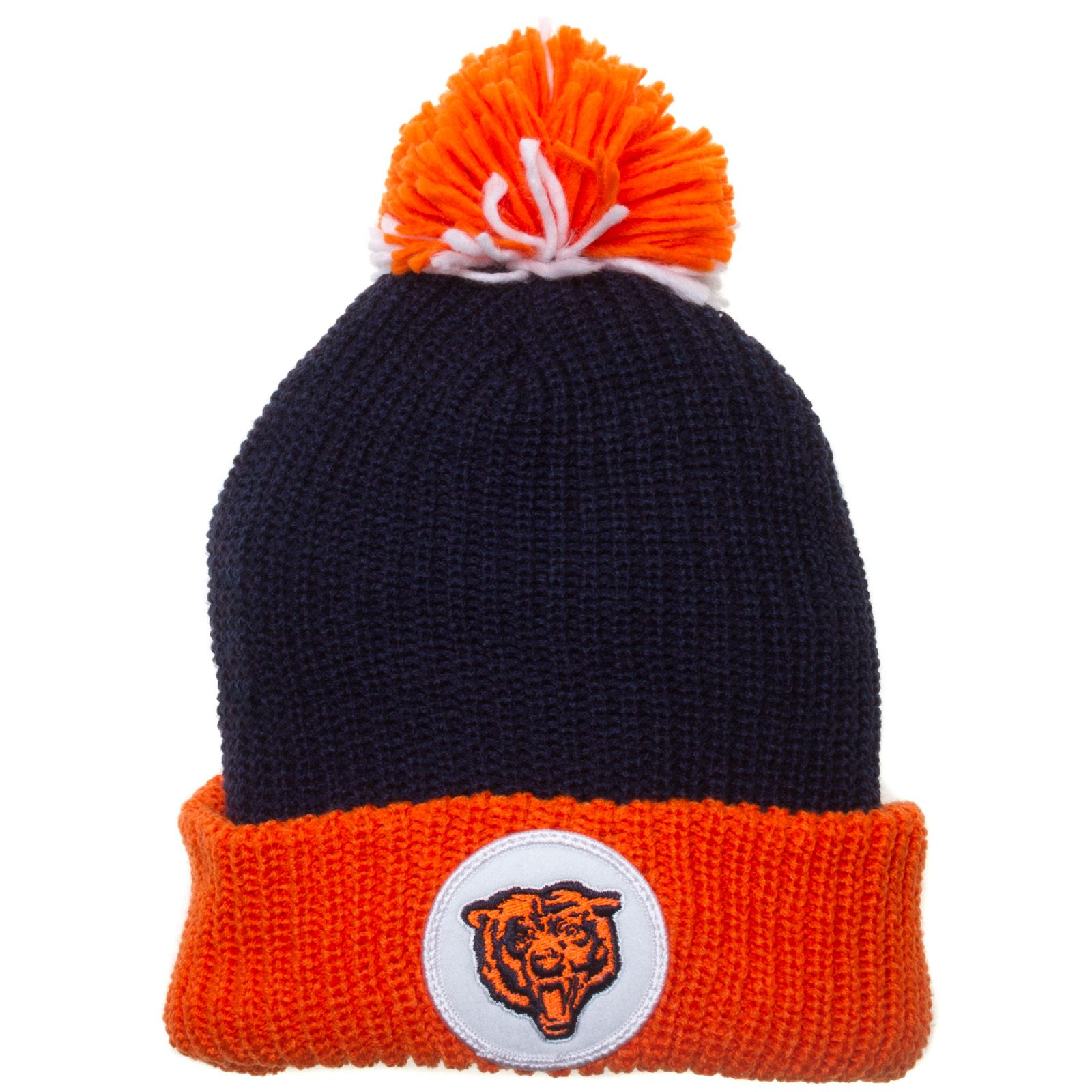 Chicabo Bears Navy and Orange Pom Knit Hat by Mitchell   Ness  Chicago   Bears  BearDown f709ea87cc39