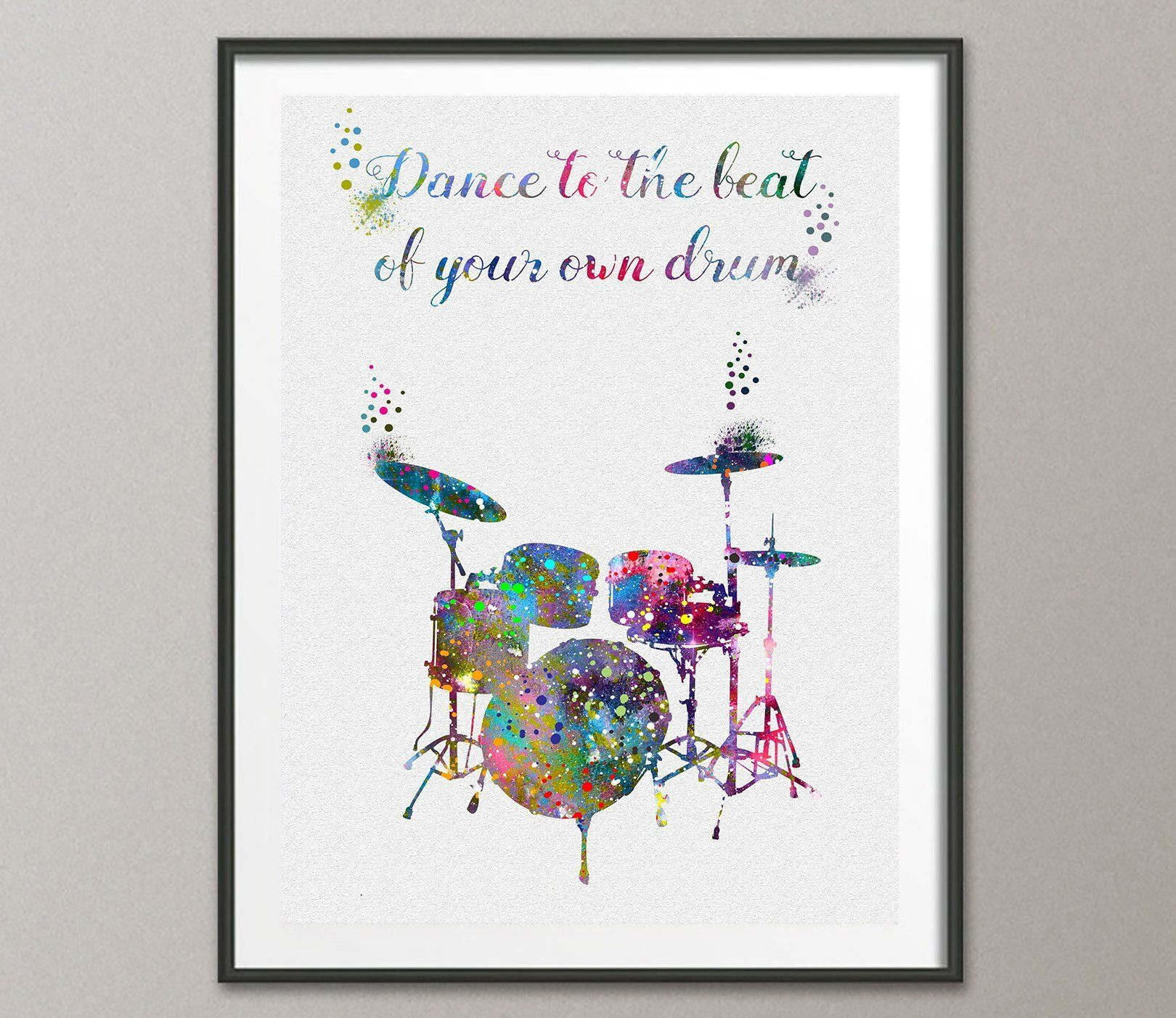 Drums Quote Watercolor Poster Art Print Wall Decor Artworks Dining Room Hanging