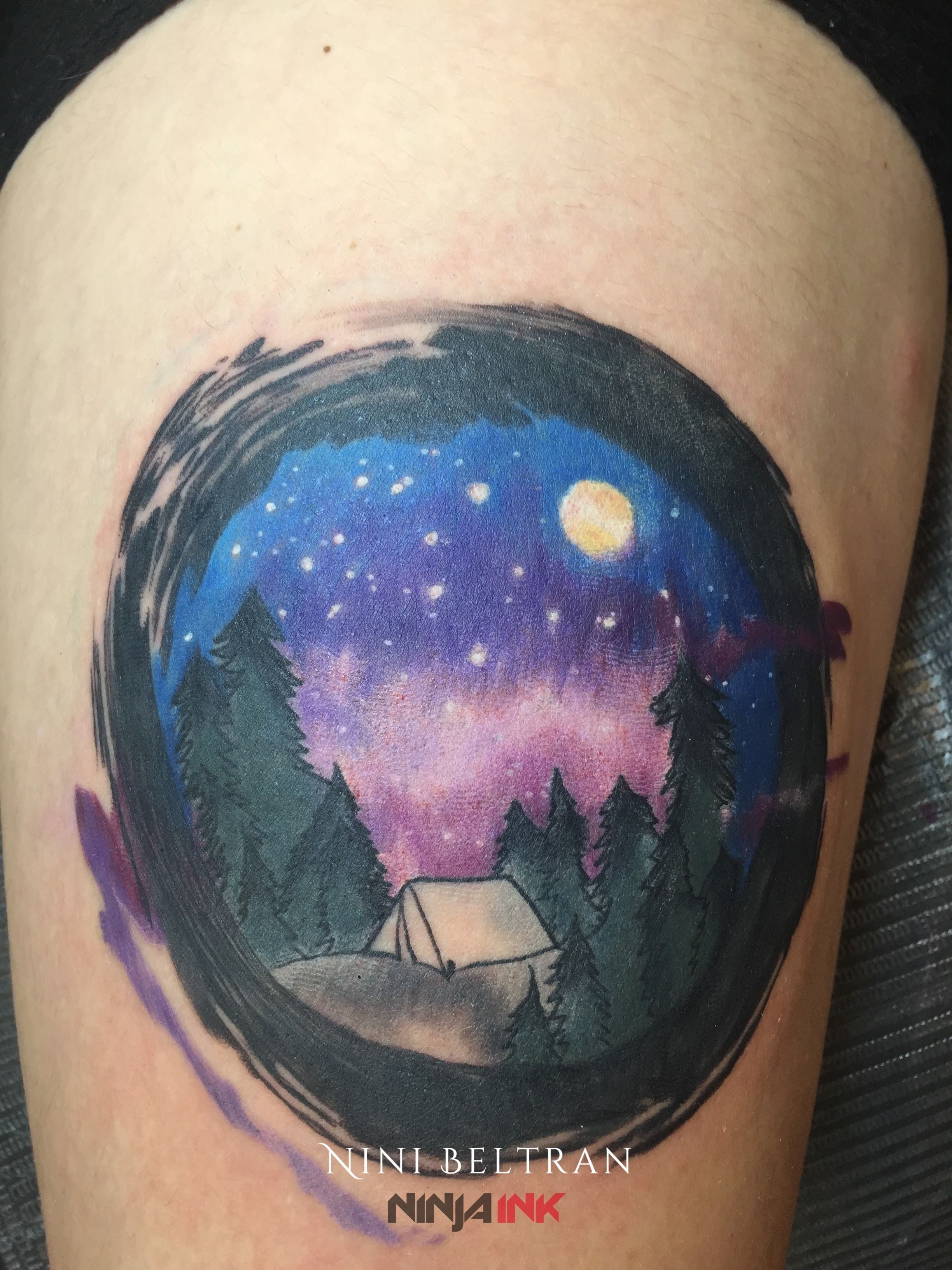 Night Sky Watercolor Tattoo Watercolor Tattoo Leaf Tattoos