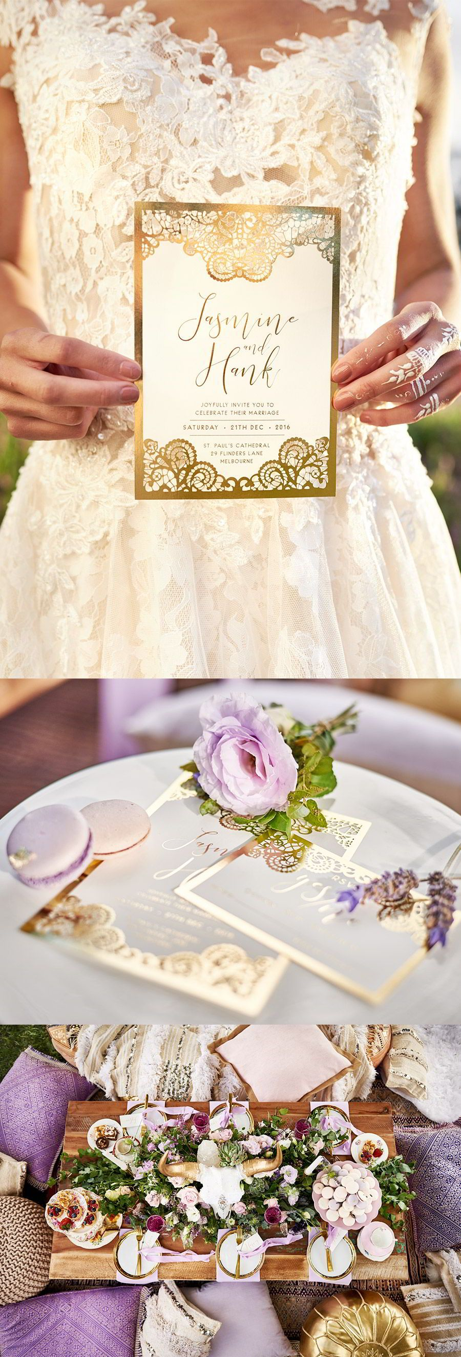 This Boho-Luxe Lavender Inspired Shoot is So Dreamy… | Purple gold ...