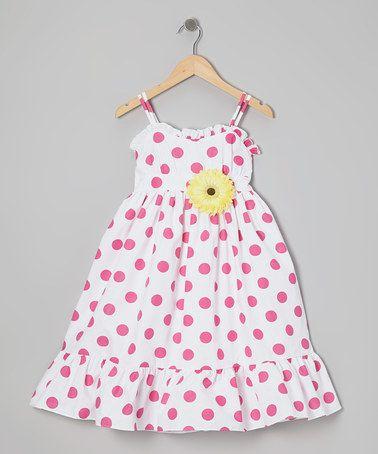 Take a look at this White & Fuchsia Polka Dot Dress & Daisy Pin…