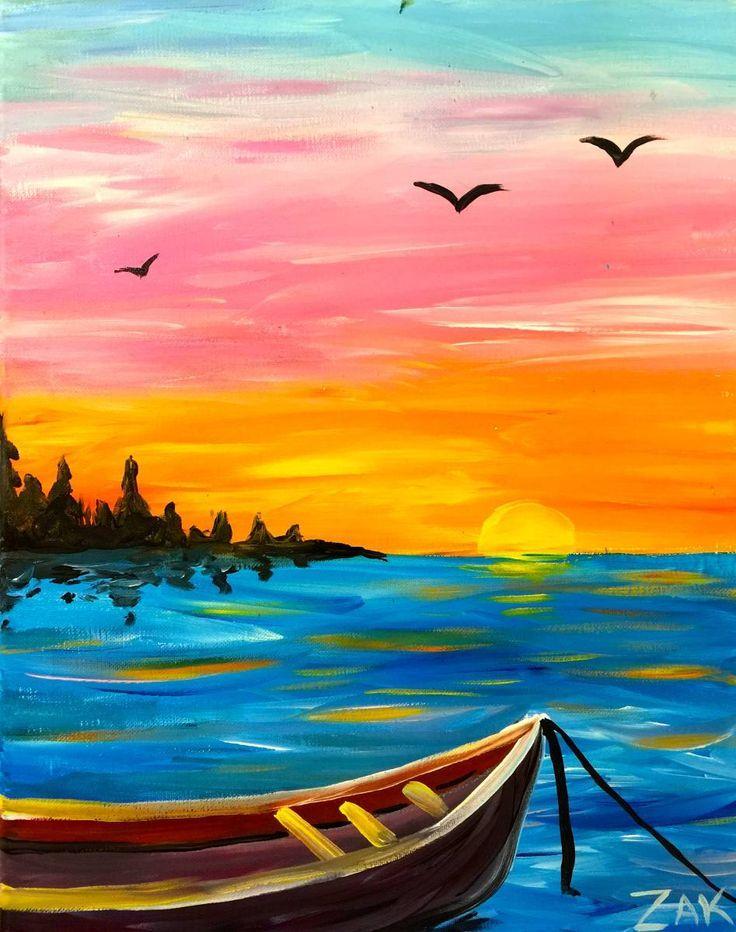Fishing boat sunset simple acrylic paintings beginner