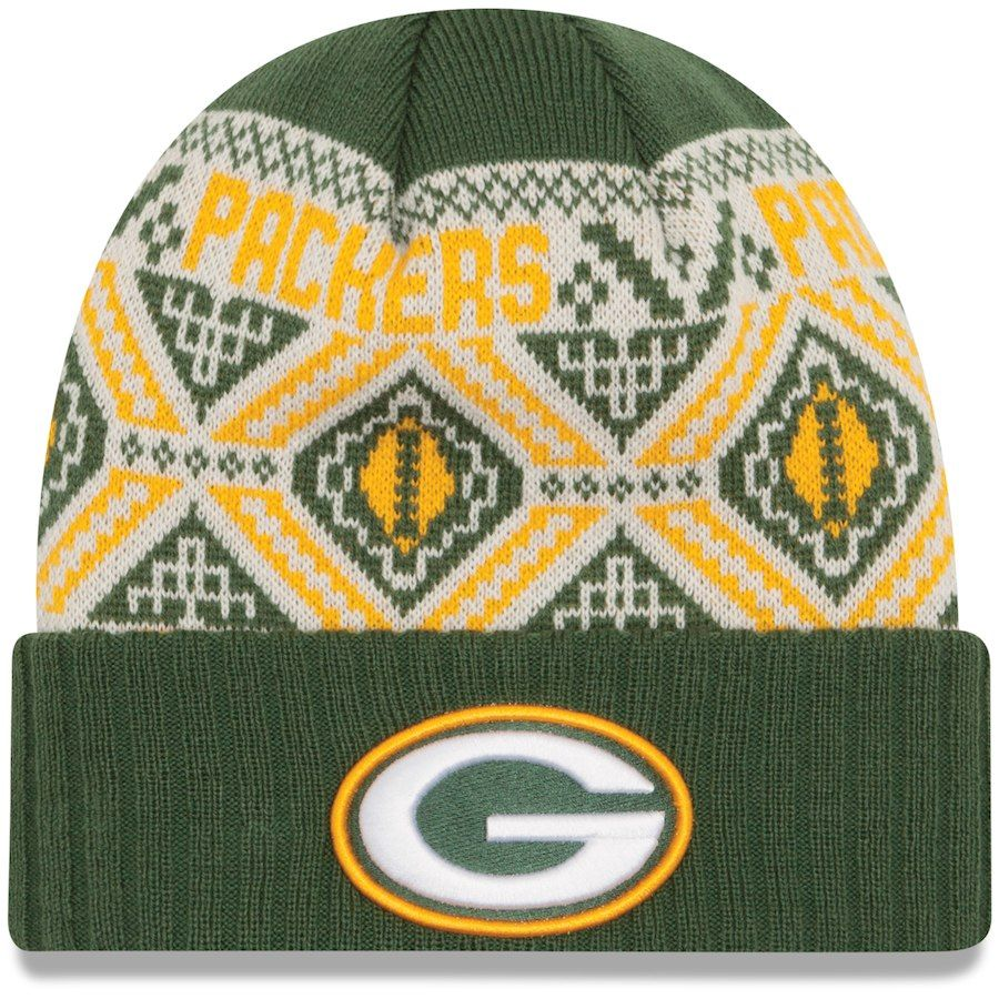 6177bcf647f Youth Green Bay Packers New Era Green Cozy Cuffed Knit Hat