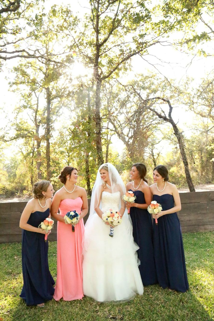 maid of honor wearing a different color dress, very cute!