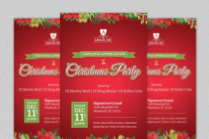 Christmas Party Flyer Template By Godserv Designs  Graphics And