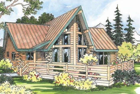 Altamont 30-012 - This striking two-story log cabin home plan has ...