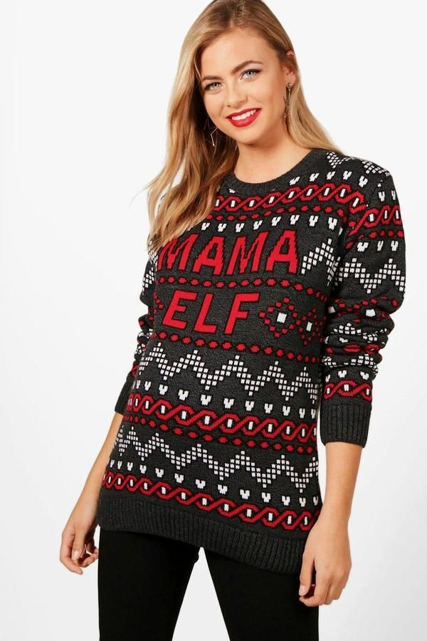 c9420e69f69fa boohoo Maternity Vic Mama Elf Christmas Jumper | Christmas & New ...