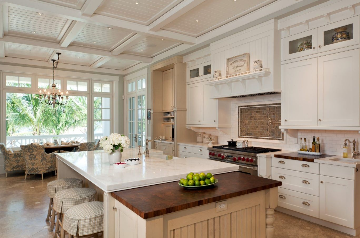v-groove or bead board recessed panels in kitchen coffered ceiling