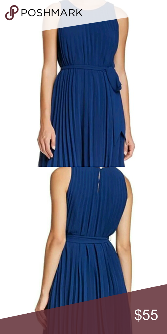 e6c86044342 Selling this Nwt - Max Studio Blue pleated dress Size Lg on Poshmark! My  username is  rebelbling.  shopmycloset  poshmark  fashion  shopping  style   forsale ...