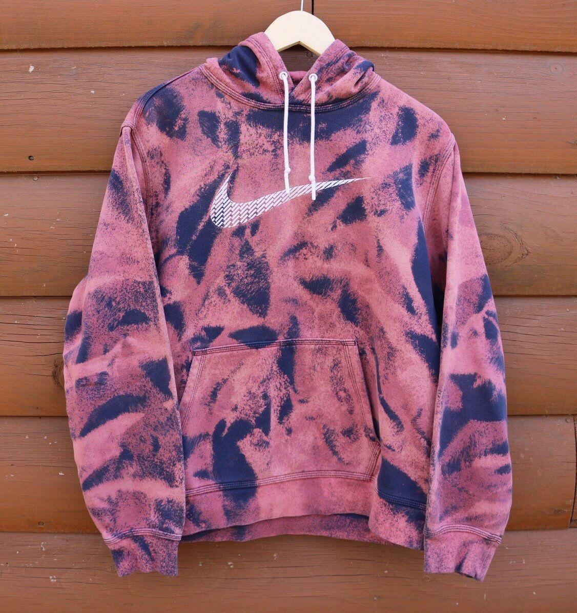 485b08310087 Nike Hoodie Custom Bleached Purple Pink and Blue Acid Wash Sweatshirt by  ScarlettThreadz on Etsy https