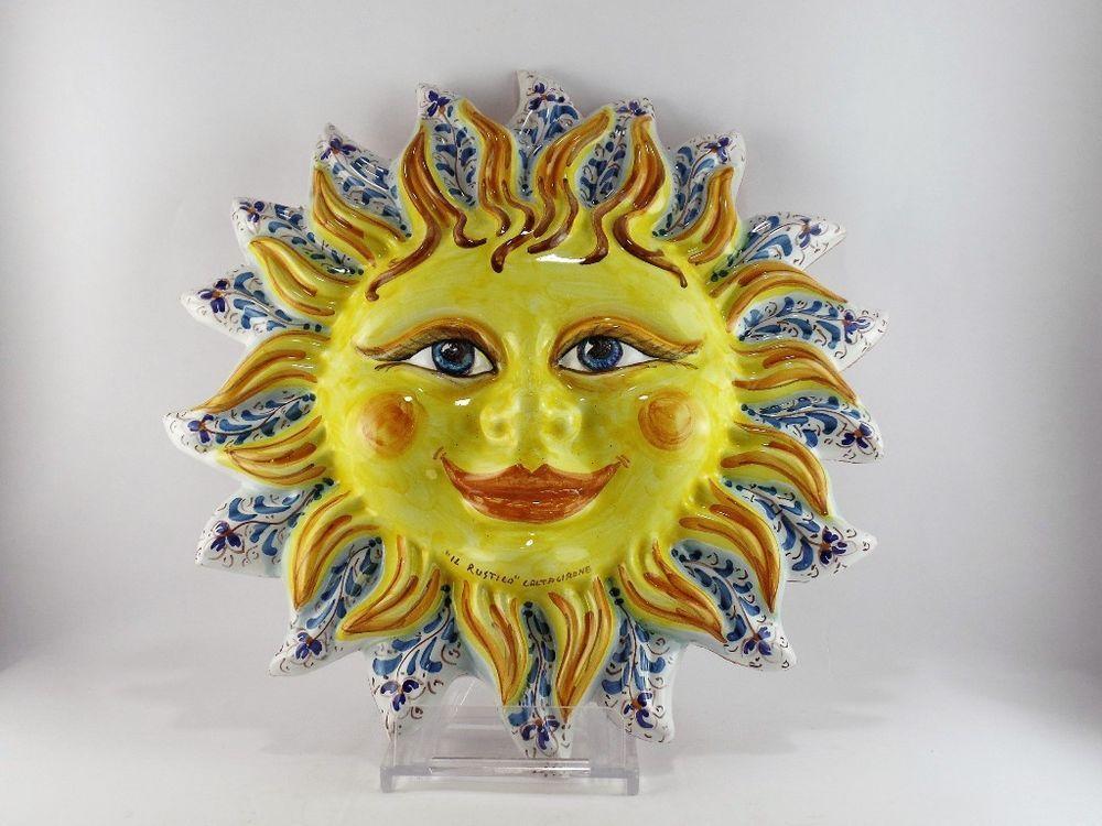 Sole in ceramica piatto parete siciliano in maiolica di caltagirone