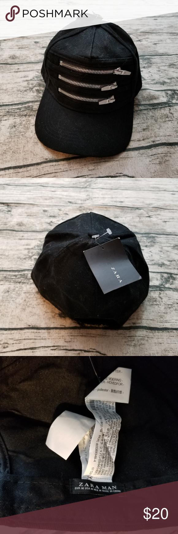 Nwt Zara Man Black Denim Hat W Zippers Zara Denim Hat Zara Man