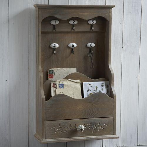 Letter holder large wooden key holder with letter rack - Letter rack and key holder ...