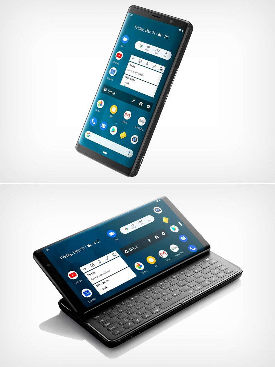 This innovative smartphone has a QWERTY keyboard... New