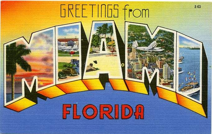 Miami Florida Large Letter Greeting Vintage Postcard  Vintage