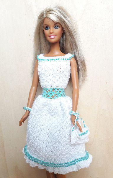 Puppenkleidung - Barbie Kleid (gehäkelt), helltürkis/weiß ...
